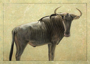 James W Johnson Drawings Prints - Wildebeest Print by James W Johnson