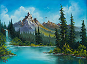 Bob Painting Originals - Wilderness Waterfall by C Steele