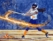 Softball Painting Posters - Wildfire Burn It Up Poster by Darrell Sheppard