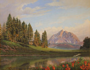 Panorama Painting Originals - Wildflowers Mountains River western original western landscape oil painting by Walt Curlee