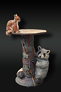 Vine Ceramics - Wildlife Birdbath  by Jeanette K