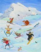 Skiing Art Posters - Wildlife Freestyle Poster by Virginia Ann Hemingson