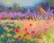 Plain Air Paintings - Wildrain Retreat - lavender and poppies by Talya Johnson