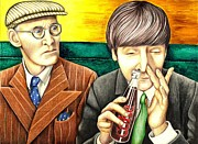 John Lennon  Drawings - Wilfred and John by Margaret Sanderson
