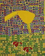 Canary Yellow Painting Prints - will I be blue Print by Donna Howard