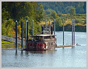 Riverfront Park Digital Art Prints - Willamette Queen Docked Print by Gary Olsen-Hasek