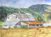 Wine Country Watercolor Paintings - Willamette Valley Barn by Carol Flagg