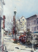 Streetlight Painting Posters - Willamsport Streetscape Winter Poster by Geoffrey Haun