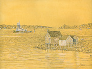 Maine Drawings Originals - Willard Beach Fishing Shacks by Dominic White