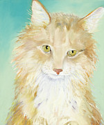 Orange Cat Pastels Posters - Willard Poster by Pat Saunders-White