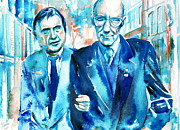 Beat Painting Posters - WILLIAM BURROUGHS and FRANCIS BACON PORTRAIT Poster by Fabrizio Cassetta