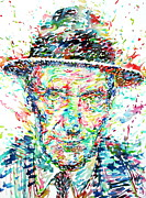 Beat Painting Posters - William Burroughs Watercolor Portrait Poster by Fabrizio Cassetta