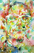 Watercolors Painting Originals - William Burroughs Watercolor Portrait.1 by Fabrizio Cassetta
