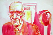 Beat Painting Posters - William Burroughs Watercolor Portrait.2 Poster by Fabrizio Cassetta