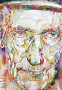 Beat Painting Posters - William Burroughs Watercolor Portrait.3 Poster by Fabrizio Cassetta