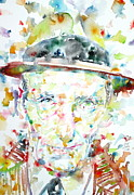 Beat Painting Posters - William Burroughs Watercolor Portrait.4 Poster by Fabrizio Cassetta