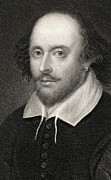 Image Drawings Framed Prints - William Shakespeare Framed Print by English School