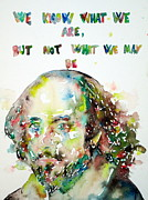 Shakespeare Metal Prints - WILLIAM SHAKESPEARE quoting HIMSELF Metal Print by Fabrizio Cassetta