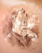 Lawyer Drawings Framed Prints - William Shatner as Denny Crane in Boston Legal Framed Print by Miki De Goodaboom