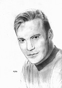 Trekkie Framed Prints - William Shatner - Capt. Kirk Framed Print by Pat Moore