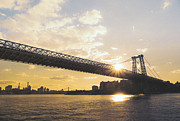 New York City Skyline Art - Williamsburg Bridge - Sunset - New York City by Vivienne Gucwa