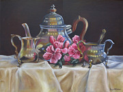 Silver Tea Pot Paintings - Williamsburg Stieff Tea Set by Phyllis Beiser