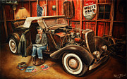 Rat Rod Painting Posters - Willie Gillis Builds a Custom Poster by Ruben Duran
