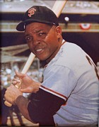 Willie Mays Posters - Willie Mays at bat Poster by Sanely Great