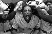 Baseball Bat Photo Prints - Willie Mays celebrating after win Print by Sanely Great