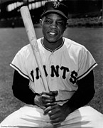 Baseball Bat Photo Prints - Willie Mays Print by Sanely Great