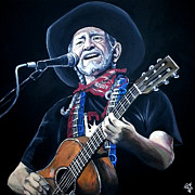Willie Nelson Posters - Willie Nelson 2 Poster by Tom Carlton
