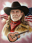 Flag Of Usa Drawings Posters - Willie Nelson American Legend Poster by Andrew Read