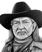 Graphite Drawings Drawings Posters - Willie Nelson Poster by Charles Champin