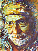 Music Legend Paintings - Willie Nelson-Funny How Time Slips Away by Joshua Morton