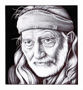 Willie Drawings - Willie Nelson by Jamie Warkentin