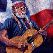 Famous Musicians Painting Originals - Willie Nelson by John Cruse Knotts