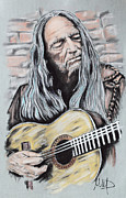 Country Pastels Metal Prints - Willie Nelson Metal Print by Melanie D