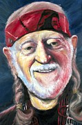 Singer Painting Originals - Willie Nelson On The Road Again by Mike Underwood