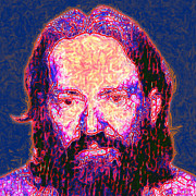 Mug Shot Prints - Willie Nelson Painterly 20130328 square Print by Wingsdomain Art and Photography