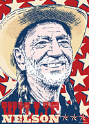 Willie Nelson Posters - Willie Nelson pop Art Poster by Jim Zahniser
