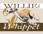 Whippet Framed Prints - Willie the Whippet Framed Print by Liane Weyers