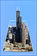 Landscapes Digital Art - Willis Sears Tower 01b Chicago by Thomas Woolworth