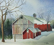 New England Snow Scene Painting Posters - Williston Barn Poster by Mary Ellen  Mueller-Legault