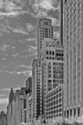 Chicago Skyline Bw Metal Prints - Willoughby Tower and 6 N Michigan Avenue Chicago  Metal Print by Christine Till