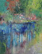 Expressionist Creek Oil Paintings - Willows by Michael Creese