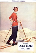 Nineteen Thirties Drawings Posters - WillÕs 1930s Usa Gold Flake Skiing Poster by The Advertising Archives