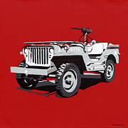Iraq Painting Originals - Willys Jeep by Slade Roberts