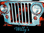 Jeep Prints - Willys Pop Art Print by Cheryl Young