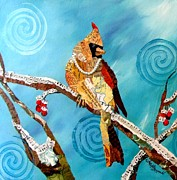 Cardinal Mixed Media - Wilmas Winter Formal by Kathy Fitzgerald