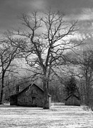 Sepia White Nature Landscapes Prints - Wilson Lick Ranger Station Print by Debra and Dave Vanderlaan